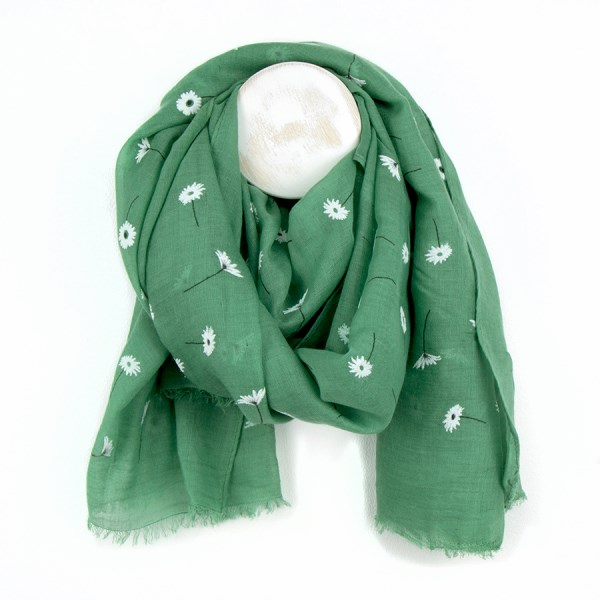 Green scarf with pretty flock daisy print | Image 1