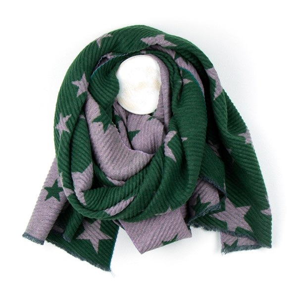 Rich green pleated scarf with reversible pink star print | Image 1