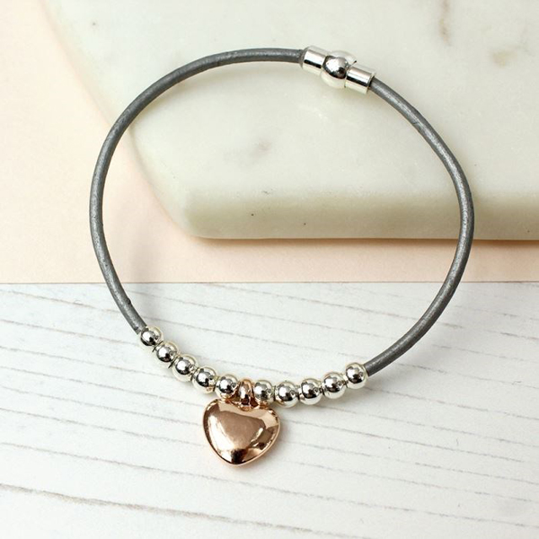 Grey leather silver bead bracelet with rose gold heart | Image 1