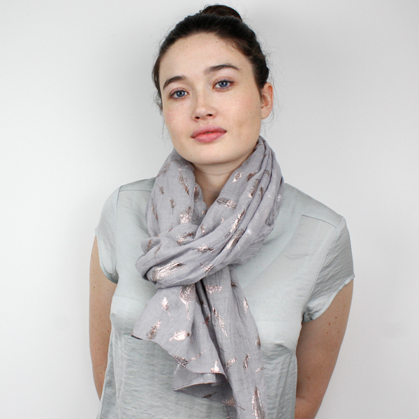 Grey scarf with rose gold metallic feathers | Image 1