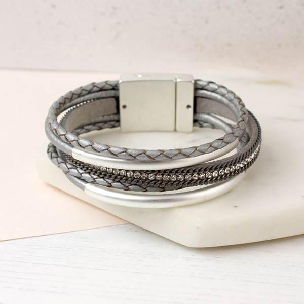 Metallic grey leather bracelet with crystals and curves | Image 1