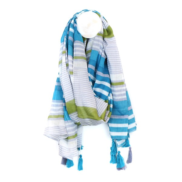 Cotton scarf with grey, aqua blue and green stripes | Image 1