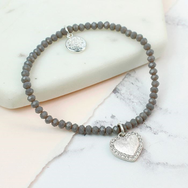 Grey bead and silver plated crystal edged heart bracelet | Image 1