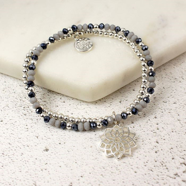 Double layer beads and silver plated mandala bracelet | Image 1