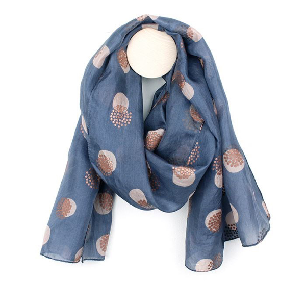 Hand printed blue, grey and copper circles silk scarf | Image 1