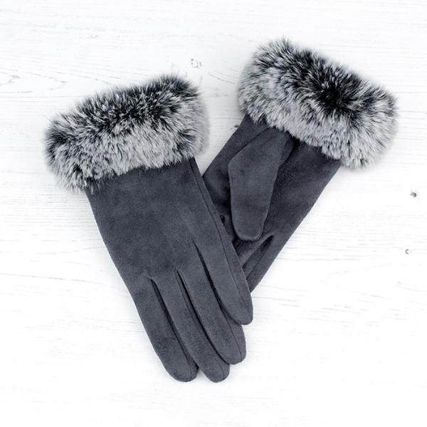 Grey microfibre gloves with faux fur trim | Image 1