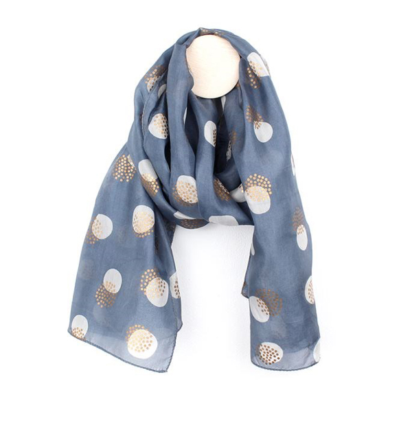 Hand printed grey-blue and gold circles silk scarf | Image 1