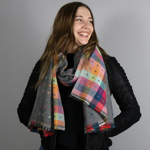 Grey and multi check scarf with little reversible jacquard stars | Image 1