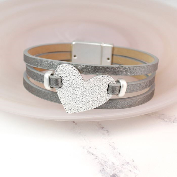 Grey leather bracelet with textured silver plated heart | Image 1