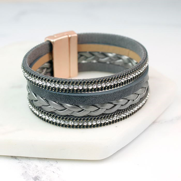 Grey leather layered bracelet with crystals and chains | Image 1
