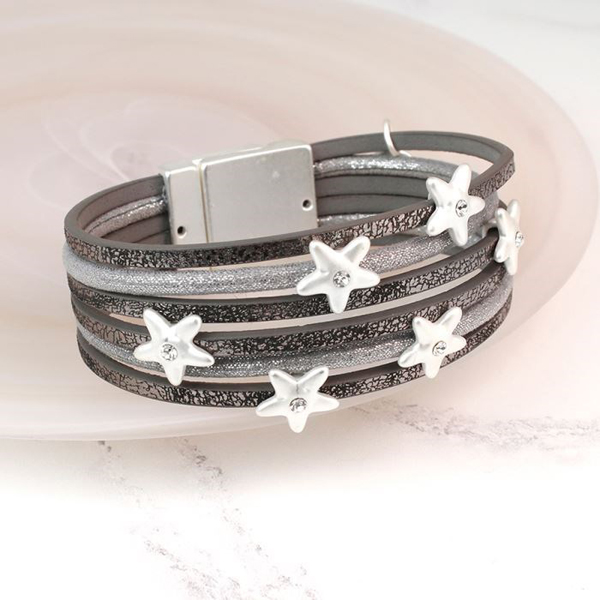 Grey Leather Bracelet With Silver Plated Crystal Stars | Image 1