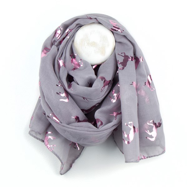 Soft grey scarf with metallic pink dancing unicorn print | Image 1