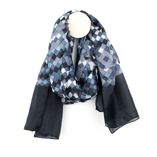 Hand printed silk scarf with squares in shades of grey | Image 1