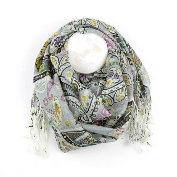 Grey mix paisley floral print scarf with fringed edge | Image 1