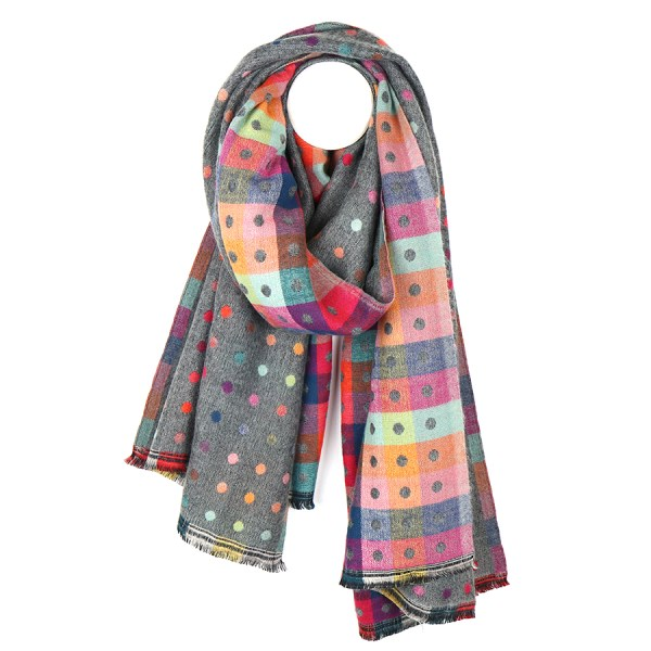 Grey multicoloured reversible jacquard dotty scarf | Image 1
