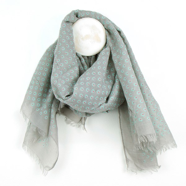 Pale grey scarf with a pretty flock flower print | Image 1