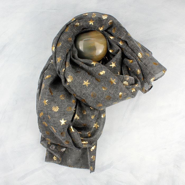 Dark grey and metallic gold ocean print scarf | Image 1