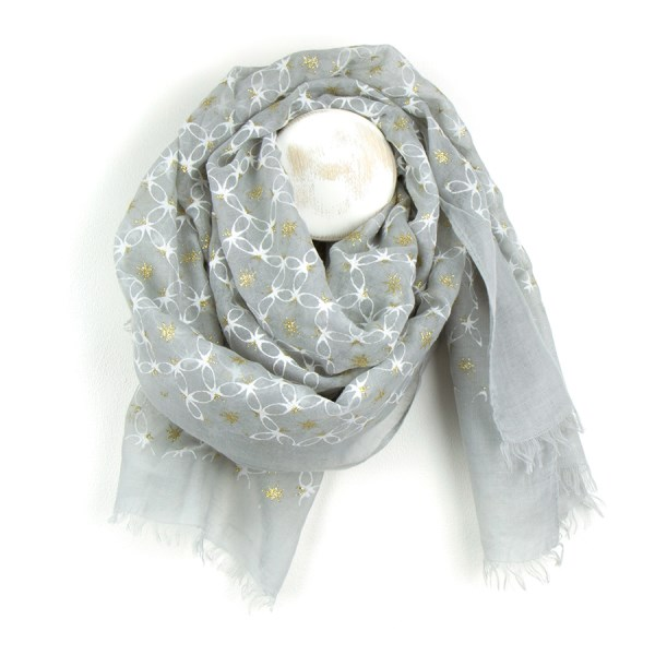 Grey scarf with white lattic flock print and golden stars | Image 1