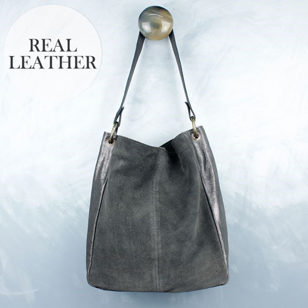 SALE - Grey suede shoulder bag with metallic leather | Image 1