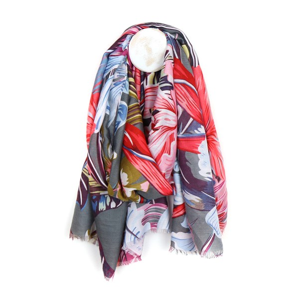 Grey scarf with large tropical flower print | Image 1