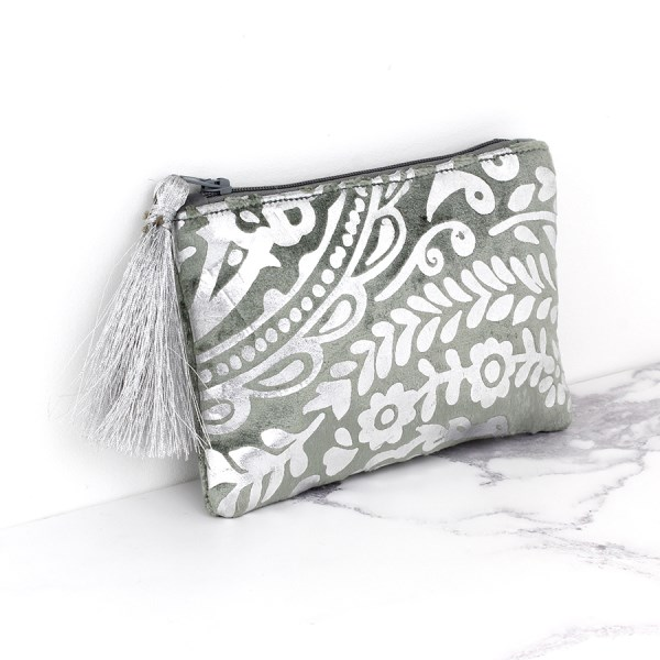 Grey velvet and silver paisley print purse with tassel | Image 1
