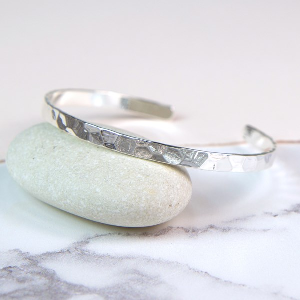 Silver plated fine open bangle with hammered finish | Image 1