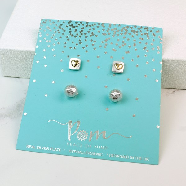 Heart stud earrings and faceted stud earring gift set | Image 1
