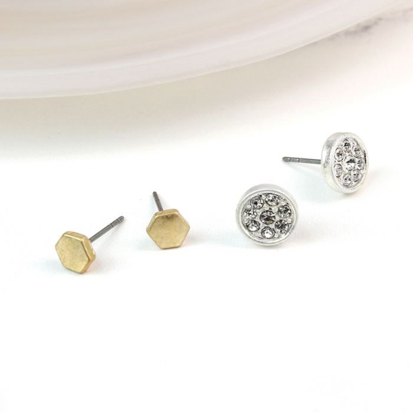 Gold plated hexagon and crystal disc stud earring set | Image 1