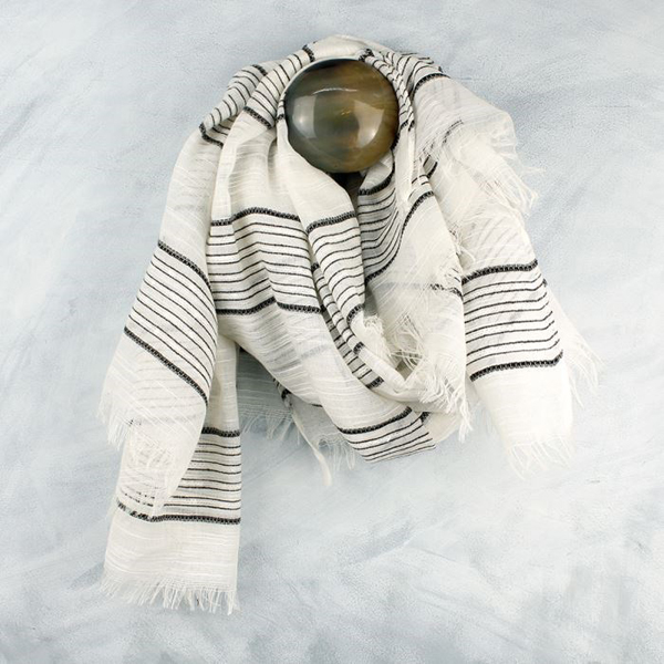 Ivory scarf with dark grey stitched stripes | Image 1