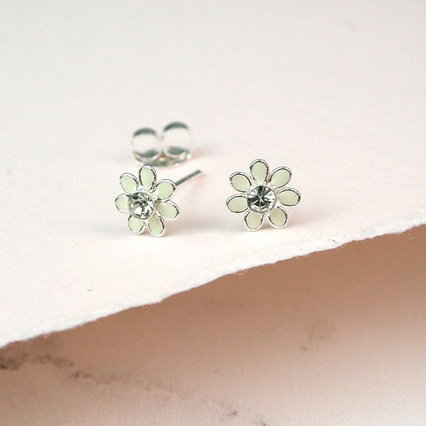 Sterling silver and ivory enamel daisy crystal earrings | Image 1
