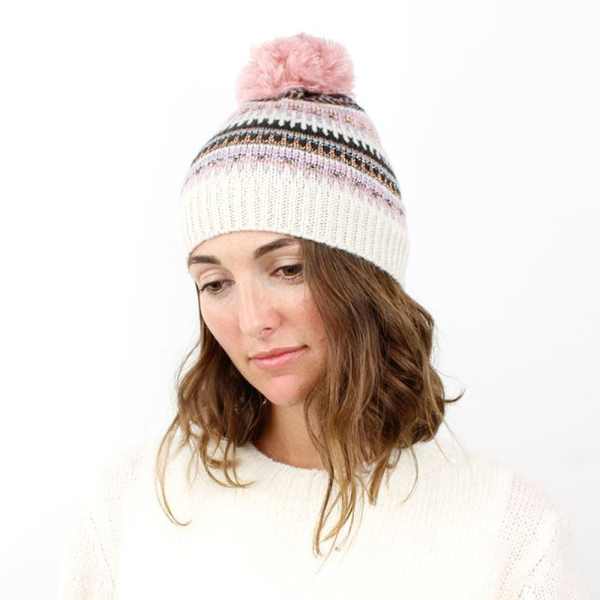 Ivory bobble hat with pink and black Fair Isle knit | Image 1