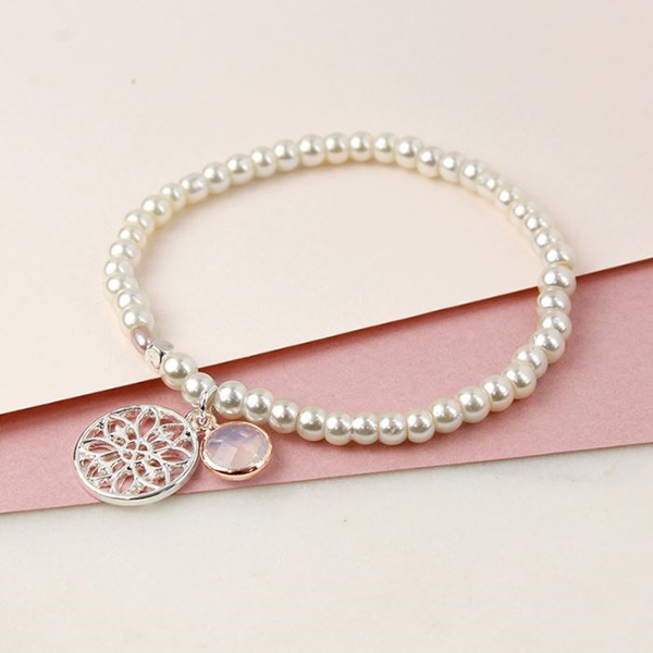 Ivory pearl bracelet with silver mandala and crystal | Image 1