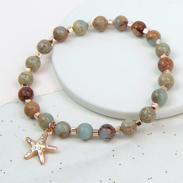 Semi precious Jasper bracelet with rose gold starfish | Image 1