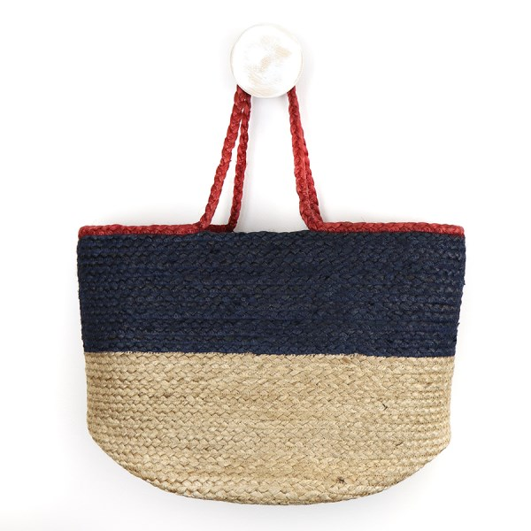 Natural and navy jute bag with red handles | Image 1
