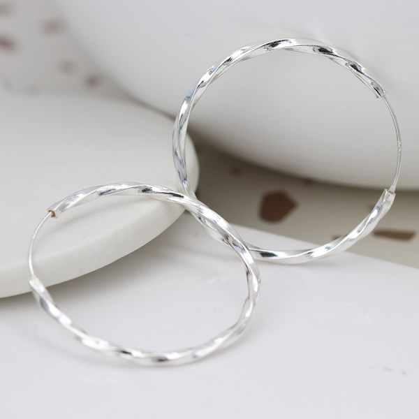 Sterling silver large hoop earrings with twisted design | Image 1
