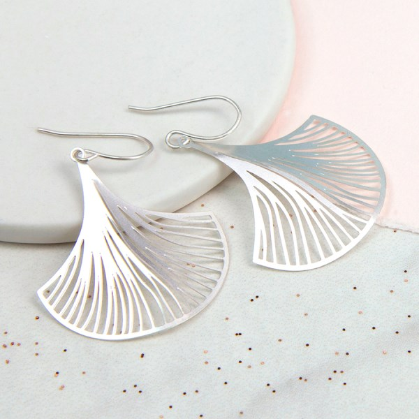 Silver plated Ginkgo leaf earrings with laser cut detail | Image 1