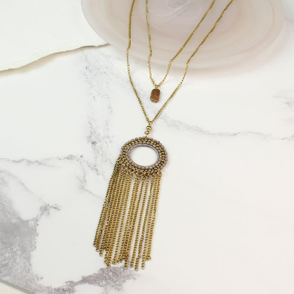 Double layer gold plated tassel and beads necklace | Image 1