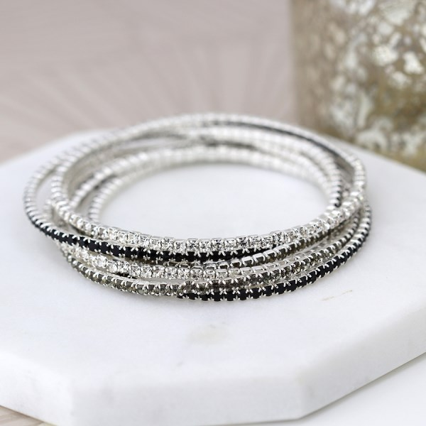 Multi strand silver plated and monochrome crystal bracelets | Image 1