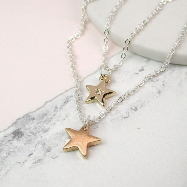 Layered necklace with golden stars and crystal detail | Image 1
