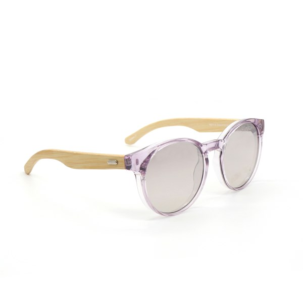 Translucent lilac sunglasses with bamboo arms | Image 1
