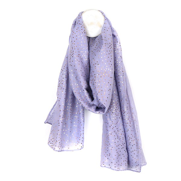 Lilac scarf with metallic rose gold spot print | Image 1