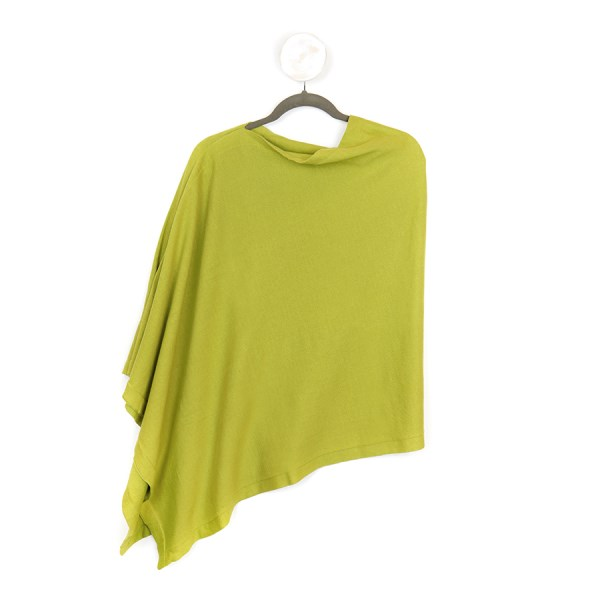 Fine knit cotton poncho in lime green | Image 1
