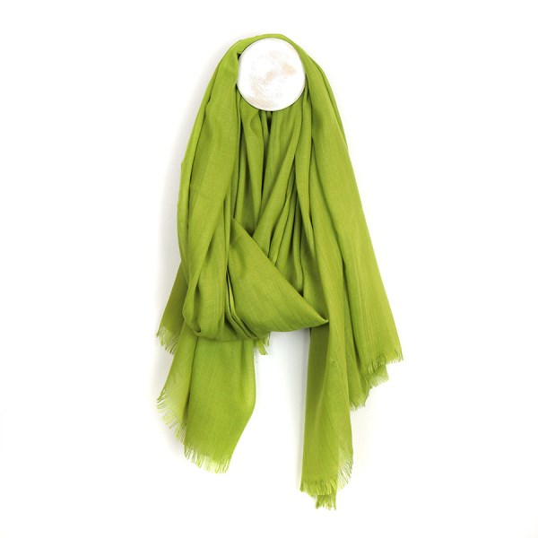 Plain lightweight scarf in lime green with gently frayed ends | Image 1
