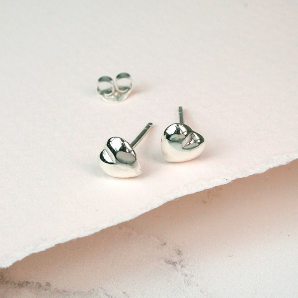 Little sterling silver heart stud earrings | Image 1