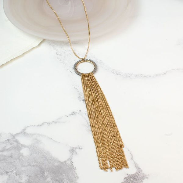 Beaded circle necklace with gold plated chain tassel | Image 1