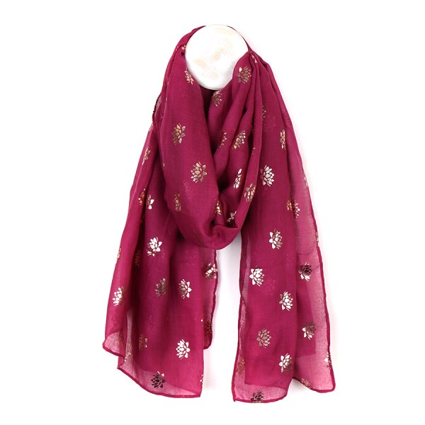 Magenta scarf with metallic rose gold lotus flower print | Image 1