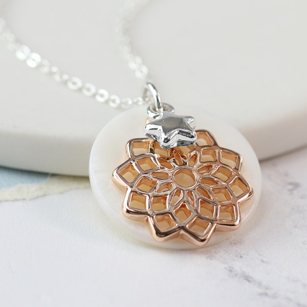 Mother of pearl disc, rose gold mandala and star necklace | Image 1