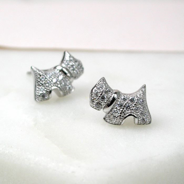 Sterling silver marcasite scotty dog earrings | Image 1