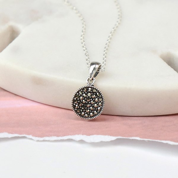 Sterling silver Marcasite disc necklace with silver chain | Image 1