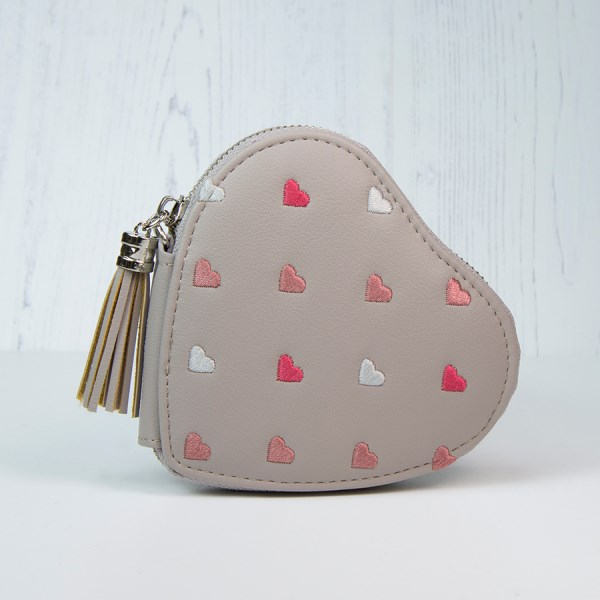 Taupe grey heart shaped purse with embroidery and tassel | Image 1